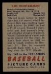 1951 Bowman #147   Ken Heintzelman Back Thumbnail