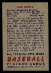 1951 Bowman #133  Sam Dente  Back Thumbnail