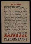 1951 Bowman #79   Jim Hegan Back Thumbnail