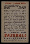 1951 Bowman #223   Johnny Vander Meer Back Thumbnail