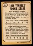 1968 Topps #214  Yankees Rookies  -  Stan Bahnsen / Frank Fernandez Back Thumbnail