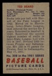 1951 Bowman #308  Ted Beard  Back Thumbnail