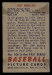 1951 Bowman #106   Pat Mullin Back Thumbnail