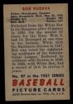 1951 Bowman #97  Bob Kuzava  Back Thumbnail