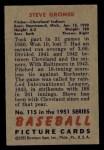 1951 Bowman #115   Steve Gromek Back Thumbnail