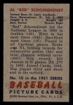 1951 Bowman #10   Red Schoendienst Back Thumbnail
