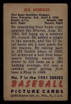1951 Bowman #7  Gil Hodges  Back Thumbnail