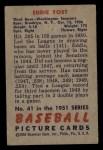 1951 Bowman #41   Eddie Yost Back Thumbnail