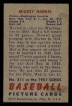 1951 Bowman #311   Mickey Harris Back Thumbnail