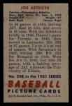 1951 Bowman #298  Joe Astroth  Back Thumbnail