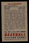 1951 Bowman #287  Jim Blackburn  Back Thumbnail