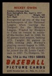 1951 Bowman #174   Mickey Owen Back Thumbnail