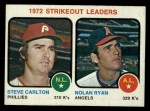 1973 Topps #67  Strikeout Leaders  -  Steve Carlton / Nolan Ryan Front Thumbnail