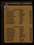 1973 Topps #67  Strikeout Leaders  -  Steve Carlton / Nolan Ryan Back Thumbnail