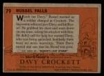 1956 Topps Davy Crockett #79 ORG  Russel Falls  Back Thumbnail