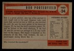 1954 Bowman #24   Bob Porterfield Back Thumbnail