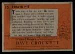 1956 Topps Davy Crockett #75 ORG Travis Hit   Back Thumbnail