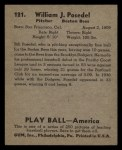 1939 Play Ball #121   Bill Posedel Back Thumbnail