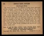 1941 Gum Inc. Uncle Sam Home Defense #80  Destroyer Duty  Back Thumbnail