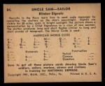 1941 Gum Inc. Uncle Sam Home Defense #84  Blinker Signals  Back Thumbnail