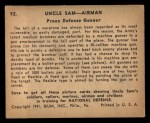 1941 Gum Inc. Uncle Sam Home Defense #92  Prone Defense Gunner  Back Thumbnail