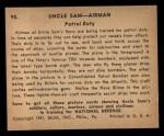1941 Gum Inc. Uncle Sam Home Defense #95  Patrol Duty  Back Thumbnail