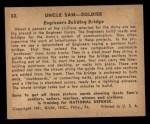 1941 Gum Inc. Uncle Sam Home Defense #53  Engineers Building Bridge  Back Thumbnail