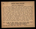 1941 Gum Inc. Uncle Sam Home Defense #55   Life On Submarine Back Thumbnail