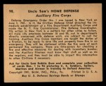 1941 Gum Inc. Uncle Sam Home Defense #98  Auxiliary Fire Corp  Back Thumbnail