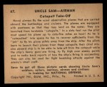 1941 Gum Inc. Uncle Sam Home Defense #67   Catapult Take-Off Back Thumbnail