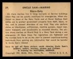 1941 Gum Inc. Uncle Sam Home Defense #29   Shore Duty Back Thumbnail