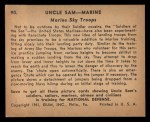 1941 Gum Inc. Uncle Sam Home Defense #90  Marine Sky Troops  Back Thumbnail