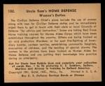 1941 Gum Inc. Uncle Sam Home Defense #102  Women's Duties  Back Thumbnail
