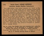 1941 Gum Inc. Uncle Sam Home Defense #110  Amateur Radio Station Volunteers  Back Thumbnail