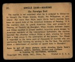 1941 Gum Inc. Uncle Sam Home Defense #31   On Foreign Soil Back Thumbnail