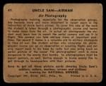 1941 Gum Inc. Uncle Sam Home Defense #47   Air Photography Back Thumbnail