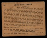 1941 Gum Inc. Uncle Sam Home Defense #72  Men With Wings  Back Thumbnail