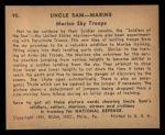 1941 Gum Inc. Uncle Sam Home Defense #90  Marine Sky Troops  Back Thumbnail