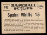 1961 Nu-Card Scoops #402  No-hitter  -   Warren Spahn Back Thumbnail