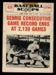 1961 Nu-Card Scoops #424   Lou Gehrig   Front Thumbnail