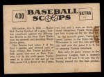 1961 Nu-Card Scoops #430   Bob Turley Back Thumbnail