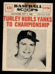 1961 Nu-Card Scoops #430   Bob Turley Front Thumbnail