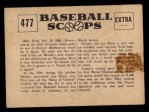1961 Nu-Card Scoops #477    Christy Mathewson  Back Thumbnail
