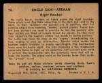 1941 Gum Inc. Uncle Sam Home Defense #96   Night Bomber Back Thumbnail