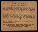 1941 Gum Inc. Uncle Sam Home Defense #41  Gunnery At The Air Corps  Back Thumbnail