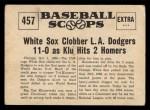 1961 Nu-Card Scoops #457   Ted Kluszewski   Back Thumbnail