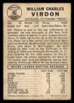 1960 Leaf #40  Bill Virdon  Back Thumbnail