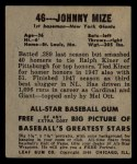 1949 Leaf #46   Johnny Mize Back Thumbnail