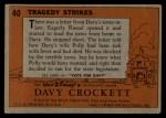 1956 Topps Davy Crockett #40 ORG Tragedy Strikes   Back Thumbnail
