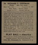 1939 Play Ball #24  Dick Coffman  Back Thumbnail